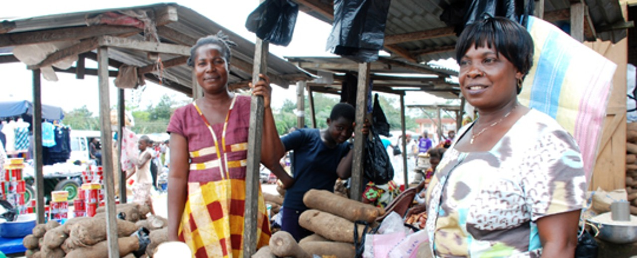 Two women at a market