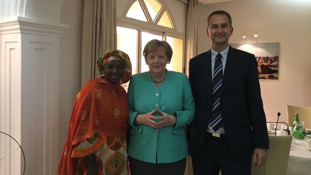 Rahinatou Mansour, Angela Merkel and Markus Schlömann