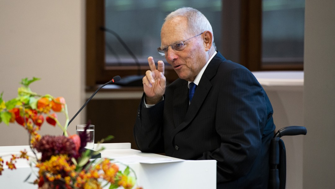 Wolfgang Schäuble holding a speech at KfW in Berlin
