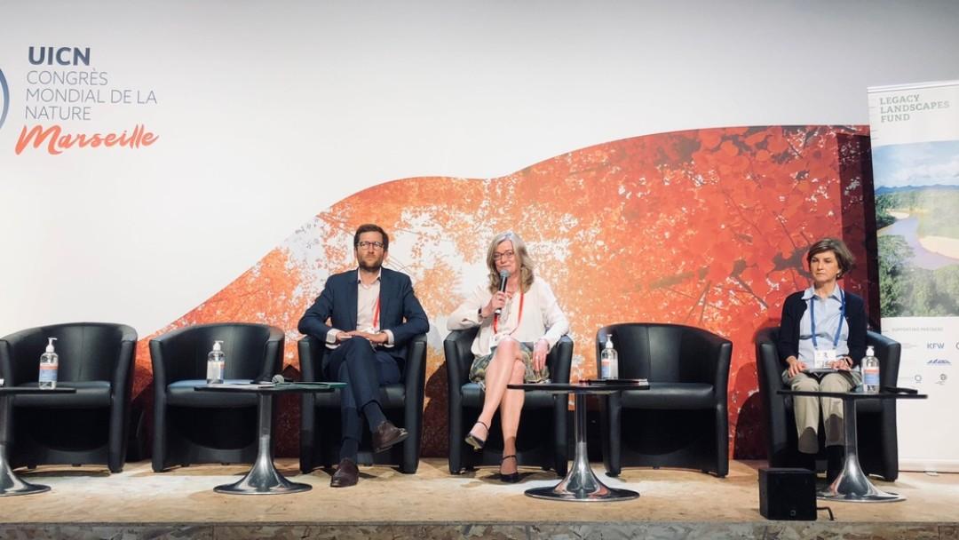 Blick in eine der Konferenzhallen der UICN
