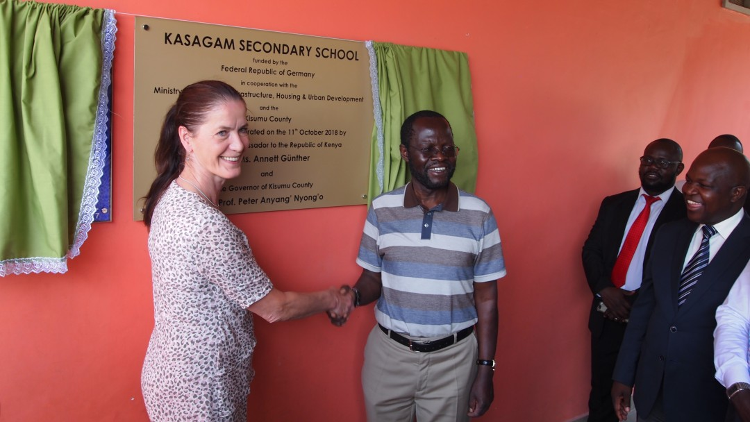 The German ambassador, Annett Günther, and the governor, Prof Peter Anyang' Nyong'o
