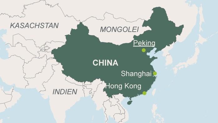 Landkartenausschnitt mit der Hauptstadt Peking