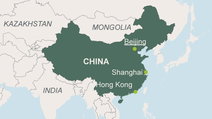 Map of China with the Capital Beijing