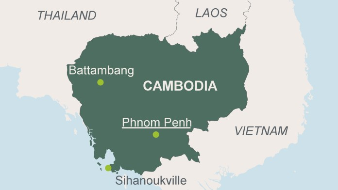 Map of Cambodia with the capital Phnom Pennh