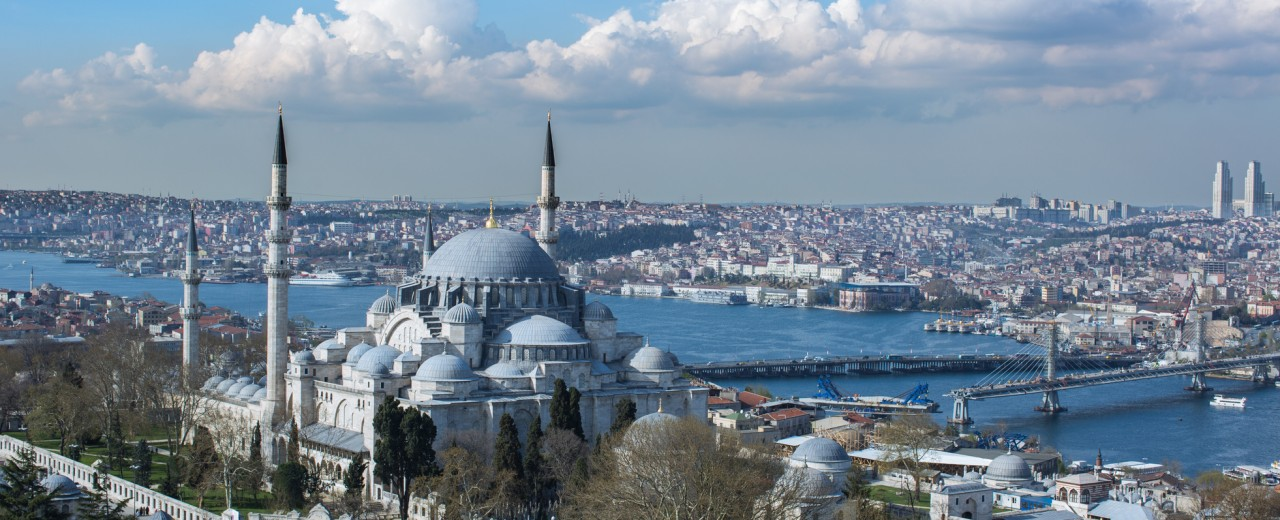 View of the Sultan Ahmed Mosque and Istanbul