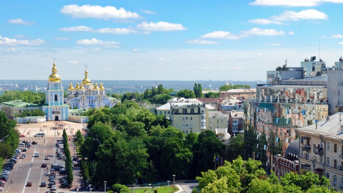 View of the Cloister Saint Michael in Kyiv