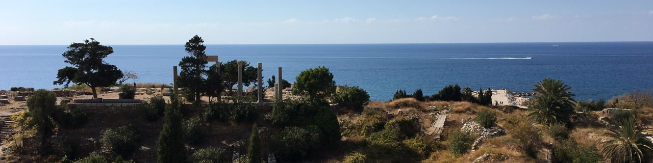 View of the sea with ruins in the foreground