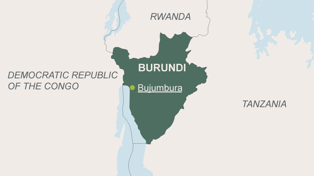 Map of Burundi with its capital Bujumbura