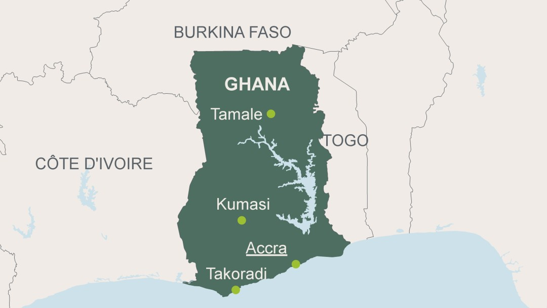 Map of Ghana with its capital Accra