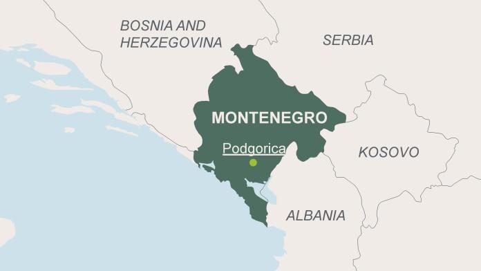 Landkarte von Montenegro mit der Hauptstadt Podgorica