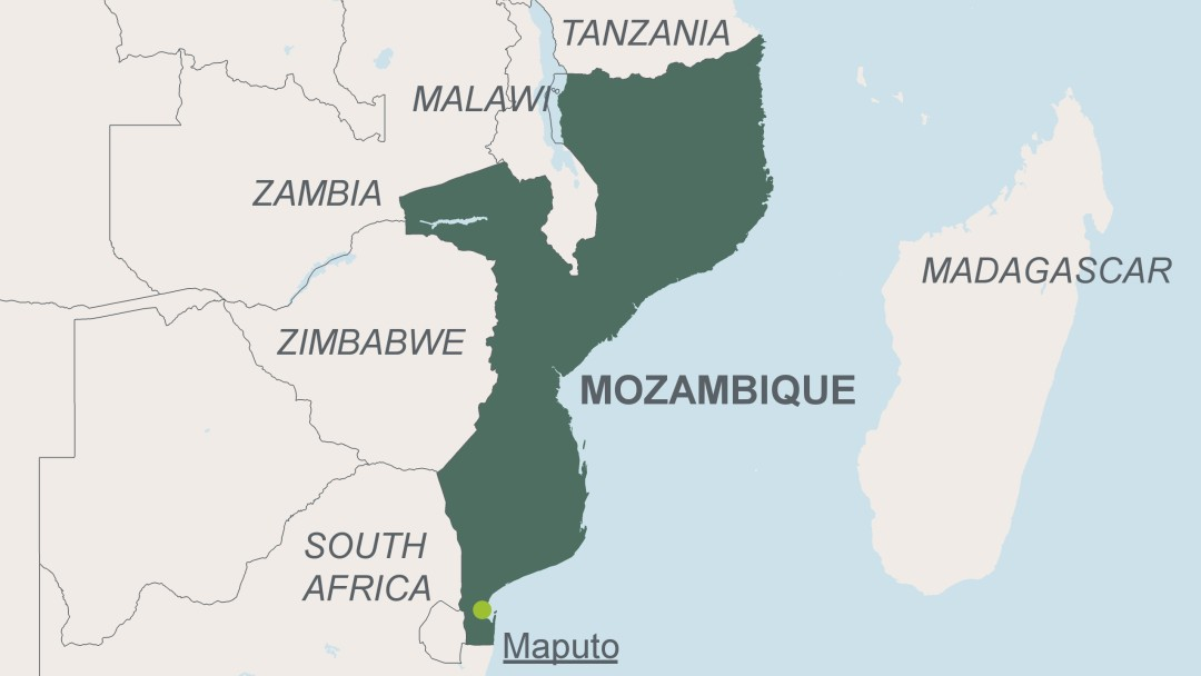Map of Mozambique with its capital Maputo