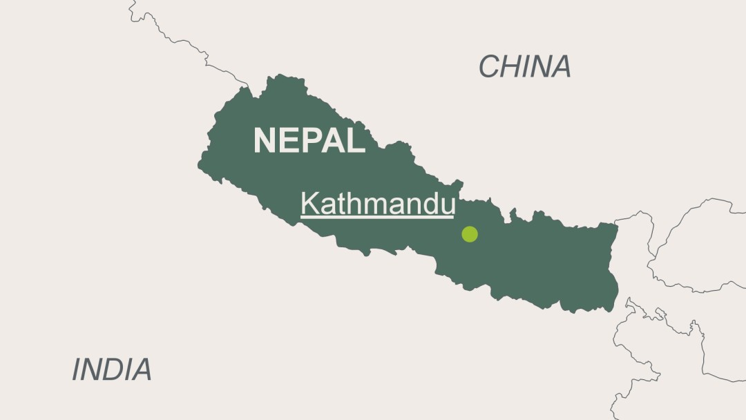 Map of Nepal with its capital Kathmandu