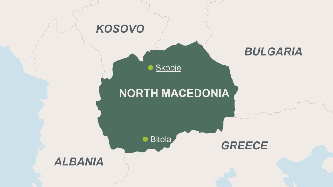 Map of North Macedonia with its capital Skopje