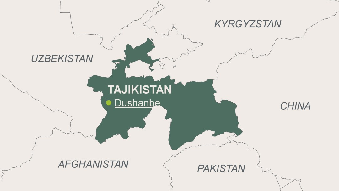 Map of Tajikistan with its capital Dushanbe