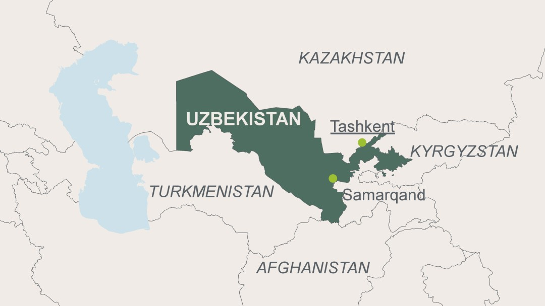 Map of Uzbekistan with its capital Tashkent