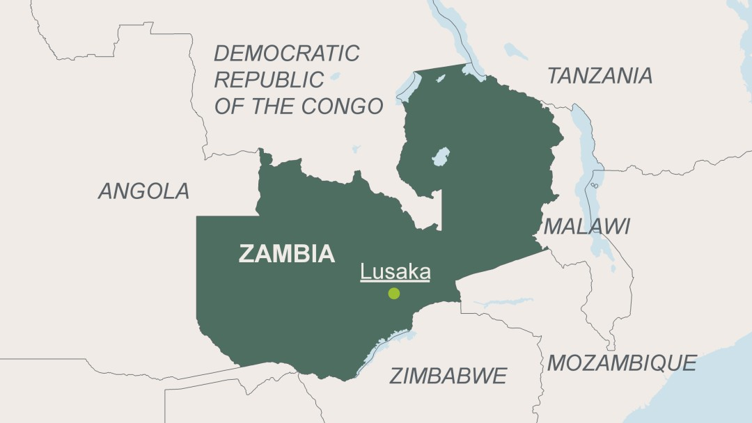 Map of Zambia with its capital Lusaka