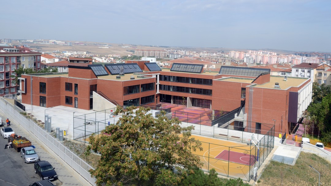 View of the Silivri Middle School in Istanbul.
