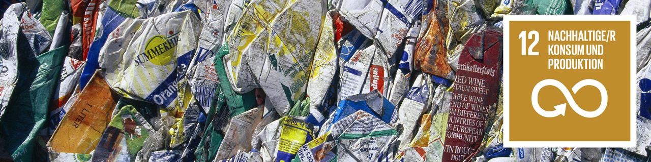 Verpackungsmül, daneben das SDG 12 Icon: Nachhaltiger Konsum und Produktion