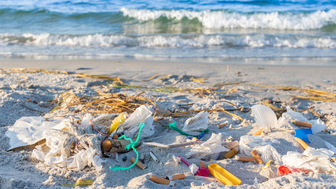Mountains of waste on the beach