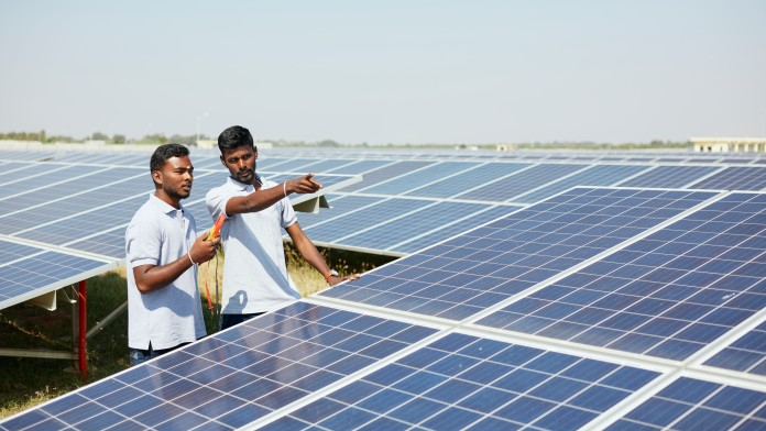 two engineers at a photovoltaic plant in Bevinahalli