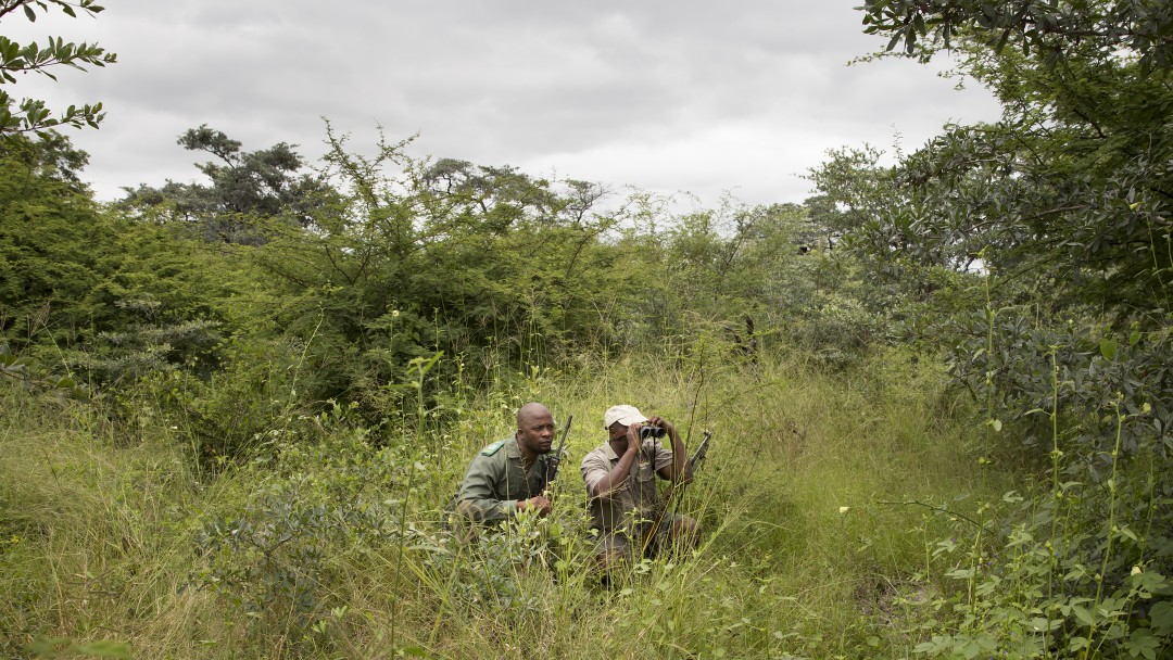 Namibia, Bwabwata National Park, Parkchef Mudumu Warden Willem Ponahazo und ein Ranger sitzen im Gras des Parks