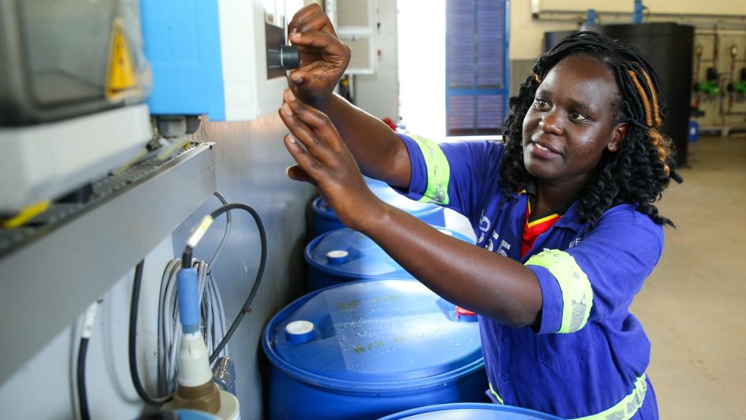 Technician at a Ugandan sewage treatment plant.