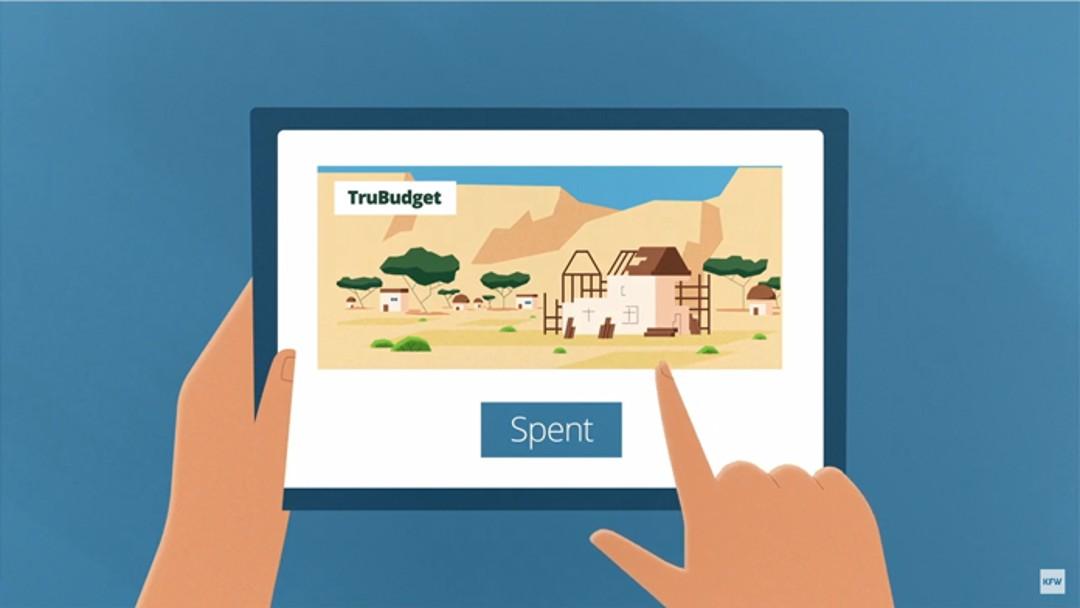"""Ausschnitt aus dem Animationsfilm über TruBudget: auf einem Tablet ist die Seite von truBudget aufgerufen und ein Finger klickt auf """"Spent"""""""