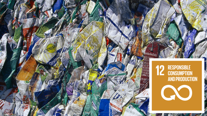 Packaging Waste, next to that the SDG 12 Icon: responsible consumption and production