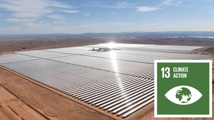 Aerial view of a solar power plant in Marocco, next to that the SDG 13 icon: Climate Action