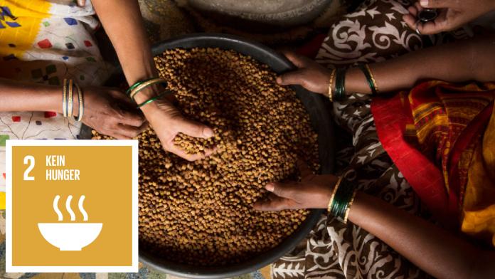 Hände von drei Personen verarbeiten Lebensmittel (Getreide in einer Schüssel), daneben das Logo von Klimaziel (SDG) 2: Kein Hunger