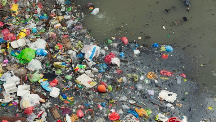 Platic waste on water surface
